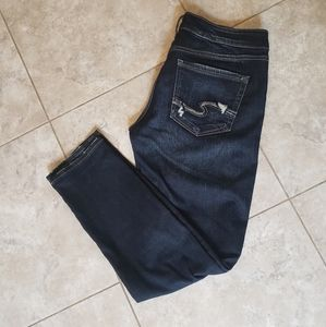 Silver high waisted skinny jeans